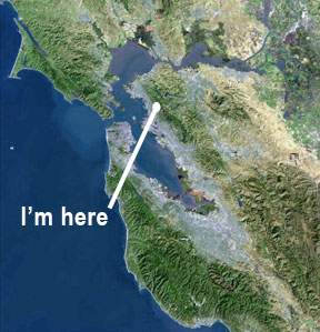 Satellite image of S.F. Bay Area with pointer to location of Berkeley